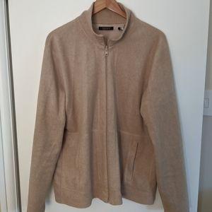 DKNY tan fleece jacket size large
